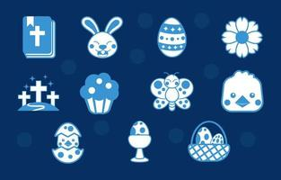 Cute Easter Icon Pack vector