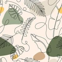 Tropical Leave Line Art Background vector