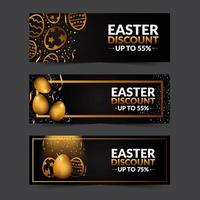Black and Gold Elegant Easter Egg Banner Sale vector