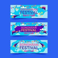 Songkran Festival Banner with Water Gun vector