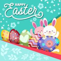 lindos huevos de pascua con dos conejos vector