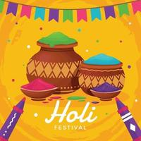 Happy Holi Festival with Yellow Background vector