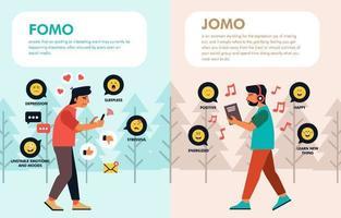 Emoji Emotions of Fomo VS Jomo Infographic vector