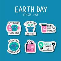 Earth Day Sticker Pack vector