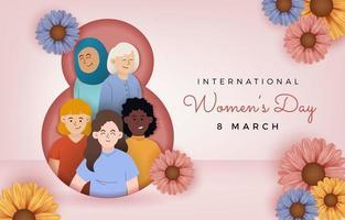día internacional de la mujer con diferentes mujeres. vector