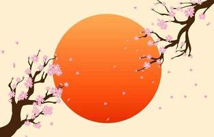 flor de cerezo con círculo rojo como fondo