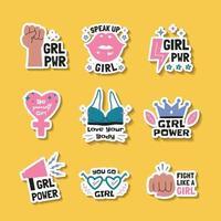Hand drawn Women's Day Sticker Set vector