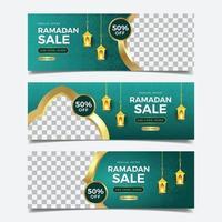 Elegant Golden Ramadan Sale Banner  Set vector