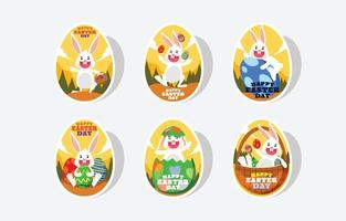 Happy Easter Day Bunny Sticker vector