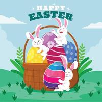 Easter Day with A Happy Bunny Expression vector