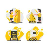 Contactless Technology Character Set vector