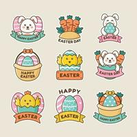 Cute Easter Day Sticker Set vector