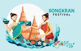 Songkran Festival Celebration Design vector