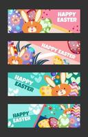 Happy Easter Banner Template Set vector