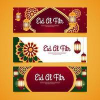 Elegant Eid Al Fitr Banner Pack vector