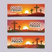 conjunto de pancarta de viernes santo con cruz vector
