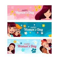 feliz día de la mujer colección de pancartas vector