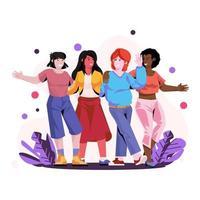 mujer, diversidad, ilustración vector