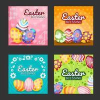 Easter Eggs Social Media Post Template Set vector