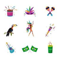 Rio Carnival Icon Set With Flat Design vector