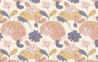 Floral One Line Art Pattern Background vector