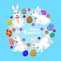 Set of Rabbit Character in several pose for Easter Day vector