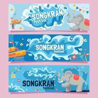 Songkran Festival Banner Collections vector