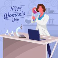 Female Scientist Working in Lab Concept vector