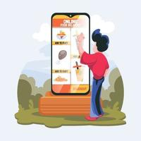 Contactless Ordering Food Concept vector