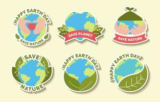 Happy Earth Day Sticker Set vector