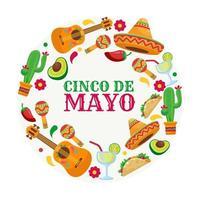 Cinco De Mayo set of Icons vector
