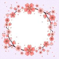 Beautiful Cherry Blossom Flowers Frame Background vector
