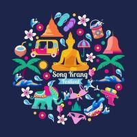 Song Krang Festival set of Icons vector