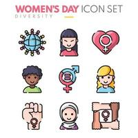 Happy Women's Day Icon Set vector