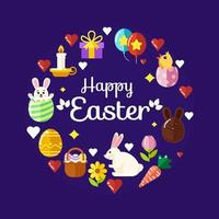 Happy Easter Set of Icons vector