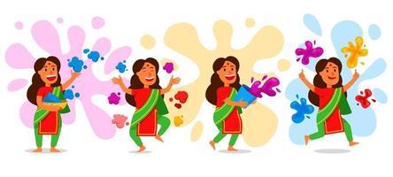 personaje de chicas celebrando el festival holi vector