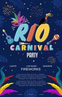 Rio Carnival Poster with Colorful Firework vector