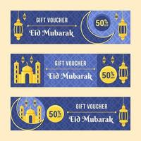Blue Eid Mubarak Gift Voucher Collection vector