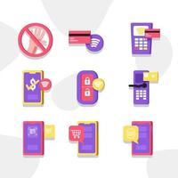 Simply Minimalist Contactless Icon Set vector
