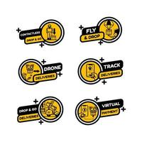 Untact Contactless Delivery Service Set of Labels vector