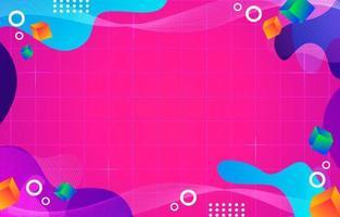 Memphis abstracto y fondo colorido líquido vector