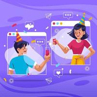New Normal Online Video Call Concept vector