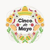 Cinco De Mayo with Colorful Icons