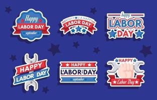 Happy Labor Day Sticker Collection vector