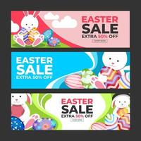 Colorful Happy Easter Sale Banner Set vector