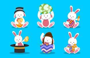 lindo conjunto de caracteres de conejo de pascua vector