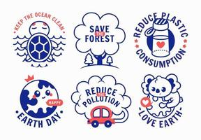 Earth Day Sticker Pack in Retro Style vector