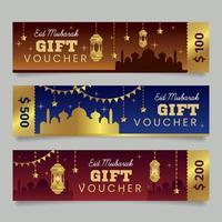 Eid Voucher Template Collection vector