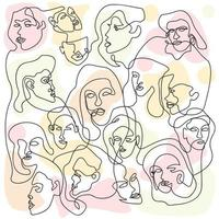 One Line Background with Various Faces vector