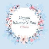 Happy Women's Day with Floral Frame vector